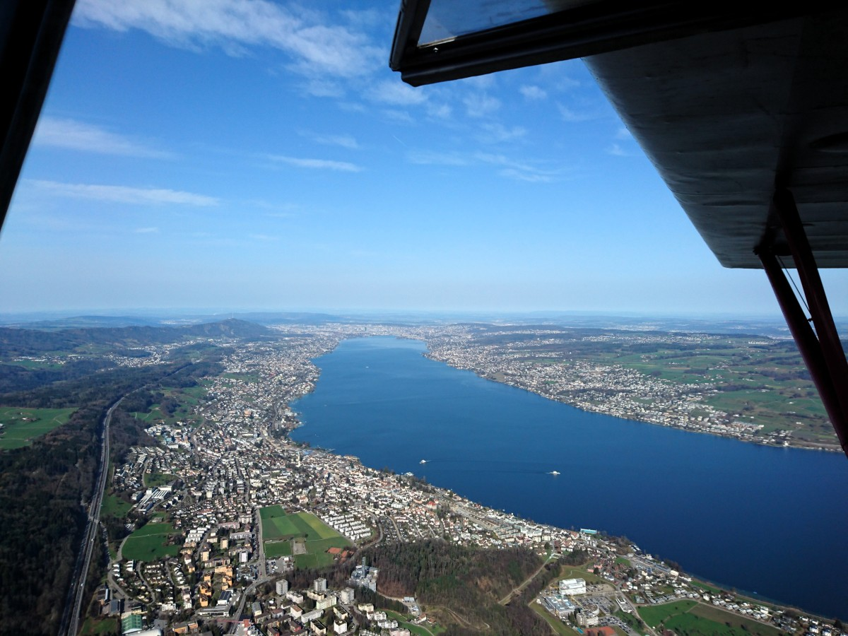 Flying Over Lake Zurich, Switzerland